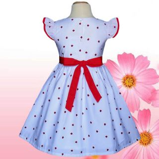 Gorgeous Baby Girls Dresses Kids Clothing White Red Apples Party Summer Size 4T
