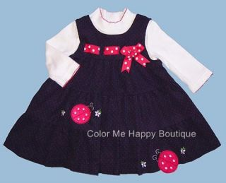 New Baby Girls Clothes Ladybug Dress Sz 12 18 24 Months