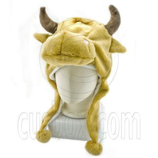 Brown Cow Ox Farm Animal Mascot Plush Adult Costume Halloween Ball Hat Cap Mask