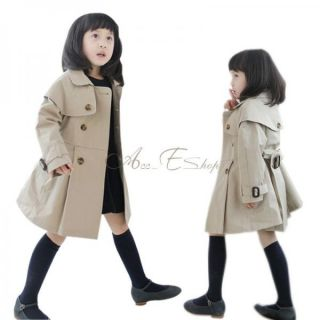 Girl Kids Toddler Autumn Double Breasted Trench Coat Wind Jacket Ages 3 8 Years