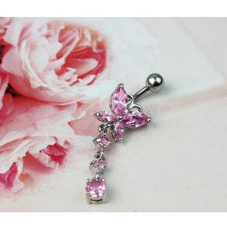 Cool Butterfly Curved Bow Shaped Design Rhinestone Dangle Belly Navel Ring Pink
