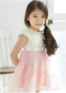 1pc Baby Girls Kid Toddler Pink White Lace Rose Flower Party Dress Skirt Clothes