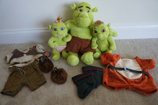 Build A Bear Shrek The Third Plush Lot Ogre Clothes Puss in Boots Baby Girl Boy