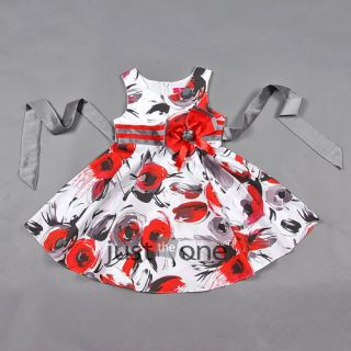 Princess White Red Trendy Retro Style Chic Party Girls Kids Summer Dress F 3 14Y