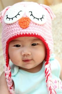 Cute Handmade Baby Girl Owl Hat Beanie New Pink Red Brim Newborn Photo Prop Gift