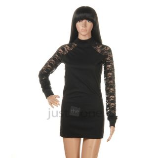 Slim Sexy Women Lace Mini Dress Tops Tunic Round Neck Long Sleeve Shirt Black