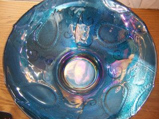 Beautiful Large Iridescent Blue Glass Bowl by Roscher Rose Fruit Vase
