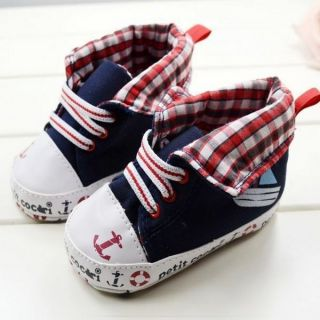 Toddler Baby Soft Sole Boat Patterns Blue High Top Shoes Sneaker Lace Up Shoes