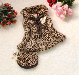 Hot Baby Toddler Girls Faux Fur Leopard Coat Kids Winter Jacket Snowsuit Handbag