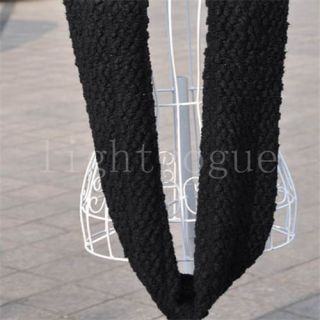 Women Lady Warm Knit Neck Circle Wool Cowl Snood Long Scarf Shawl Wrap W013