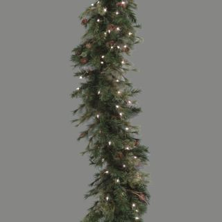 "9' x 16"" Pre Lit Mixed Country Pine Artificial Christmas Garland Clear Lights"