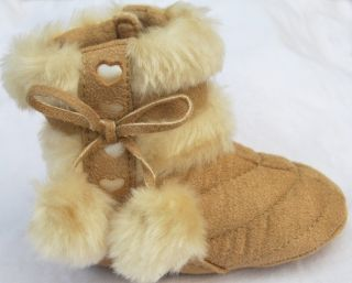 Brown Infant Toddler Baby Girl Shoes Booties Size 2 3 4