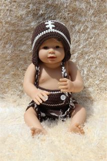 Cute Handmade Brown Football Newborn Baby Knit Hat Nappy Photo Prop New 0 1 Year
