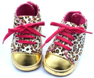 Baby Girl Leopard Gold Crib Shoes Walking Sneaker 0 18 Months