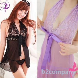 Women's Lace Lingerie Dress G String Thongs Bow Knot See Through Dress Sleepwear