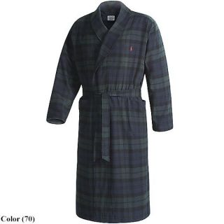 Polo Ralph Lauren Men Flannel Cotton Bath Kimono Tartan Gray Plaid Robe SMXL