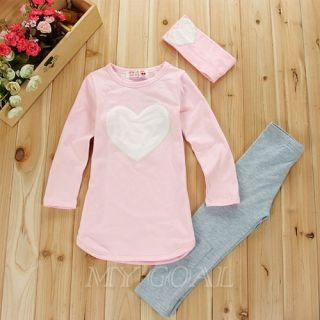 3pcs Set Kids Girls Heart Toddler Top Shirt Leggings Headband Outfits 3 7Years