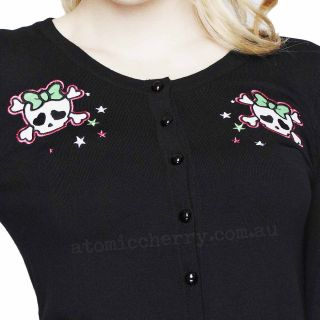 Hell Bunny Candy Skull Cardigan Girly Retro Pin Up Rockabilly Punk Tattoo Derby