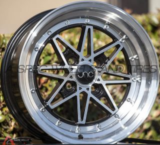 "4 PC 15x8 JNC 002 25 2 75"" Lip 4x100 Black Machined Rim Wheels Old School JDM"