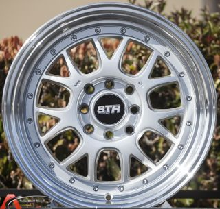 15x8 5 Str 502 4x100 Silver Wheel Fit Honda CRX Del Sol Fit Civic SI EK6 EK9 Rim