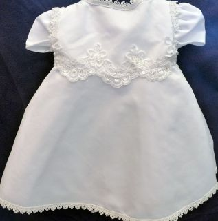 New Baby Girls White Christening Baptism Wedding Dress Bonnet Size 12 Months