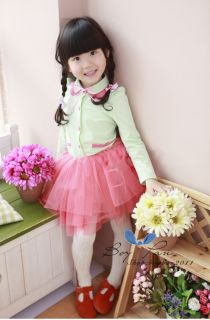 Kids Toddlers Clothes Sweet Girls Long Sleeve Cotton Tulle Tutu Dresses sz2 7Y