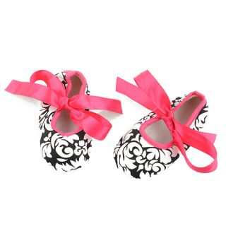 Infant Baby Toddler Girl's Dot Zebra Stripe Damask Print Silk Ribbon Shoe