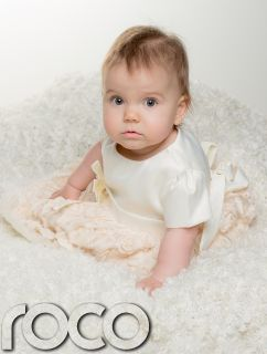 Baby Girls Cream Champagne Christening Gown Formal Wedding Baptism Dress