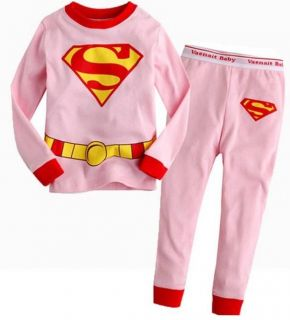 New Superman Baby Kids Boys Girls Pajamas Set Clothes Outfits Suits Age 3Y