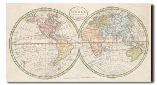 "1798 World Map Poster 24""x44"" Vintage Style Cool Large Wall Print"