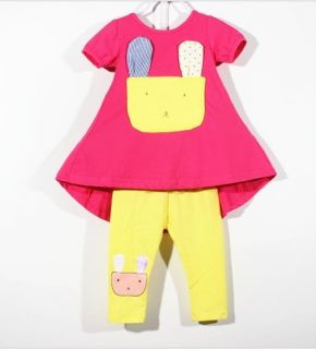 Lovely Baby Girls Rabbit Irregular Dresses Leggings Pants Kids Sest Outfits 3 4Y