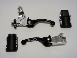ASV F3 Shorty Black Brake Clutch Levers Kit Pair Pack Kawasaki KX85 KX125 KX250