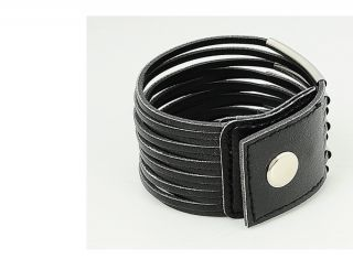 Women Ladies Girl Fashion New Black Leather Bracelet Wristband Cuff Bangle