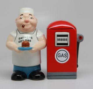 "Gas Pump Chef "" Eat Here Get Gas "" Truck Stop Ceramic Salt Pepper Shakers"