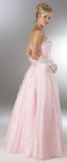 Stunning Beaded Pink Satin Chiffon Strapless Pageant Prom Dress Evening Gown