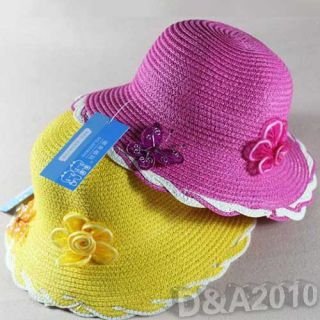 Baby Kids Girl Butterfly Flower Straw Spring Summer Beach Sun Hat Party Cap Gift