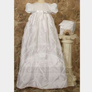 Baby Girls White Taffeta Rosettes Baptism Dress Gown 3M