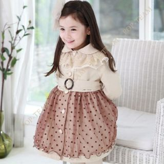 Girls Kids Baby 2 7Y Lace Salsa Coat Wind Dress Chiffon Skirt Outfit Set FT133