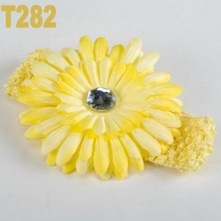 Baby Girls Crochet Headband Daisy Flower Hair Clip 14 Color