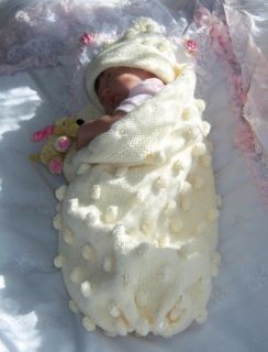 "Hand Knitted Papoose Cocoon Hat Set Newborn Baby 16 19"" Reborn Baby Girl Boy"