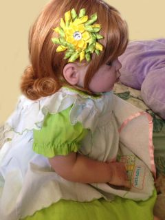 "Reborn Big Baby Girl Toddler ""St Patty's Day Sweetie"" Red Hair Green Glass Eyes"