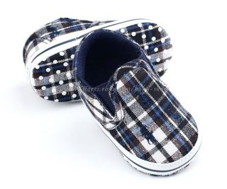 Baby Boy Navy Plaid Crib Shoes Walking Sneakers Size Newborn to 18 Months