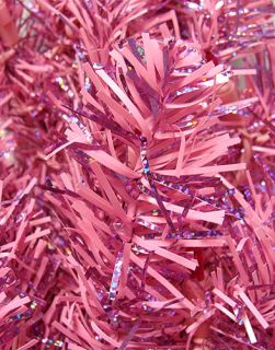 6 5' Pre Lit Hot Pink Tinsel Christmas Tree Pink Lights