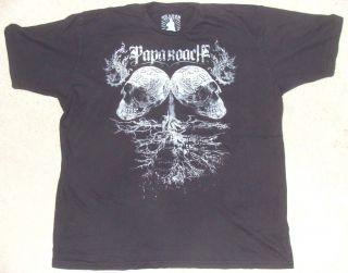 Papa Roach Skulls Summer Tour 2008 Mens Black Tee Shirt XXL by Chaser New