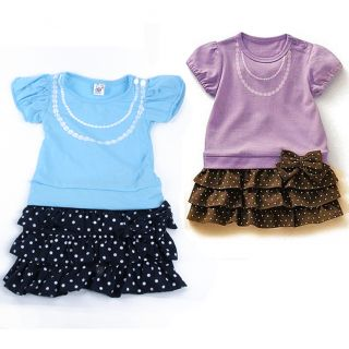 Kids Girls Baby One Piece Dress Necklace Pattern Bow Knot Ruffled Skirt 1 6 Year