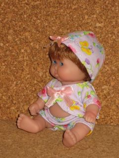"OOAK Berenguer 5"" Itty Bitty Baby Girl Tiny Flowers Fabric Clothes Doll Hair Wig"