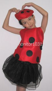 3pc Red Beetle Party Costume Cute Skirt Hat Girls 5 8yr