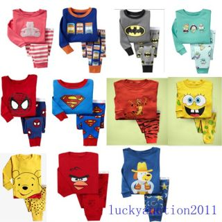 Multi Style Baby Toddler Kid's Sleepwear Pajama Set Pant 2 7 Years Old Boy Girl