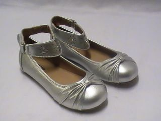 Girls Silver Ballet Flats with Ankle Strap TG Yth Sz 12