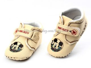 Baby Boy Beige Mickey Mouse Soft Sole Crib Shoes Size Newborn to 18 Months